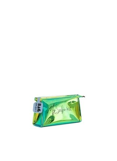 Bagmori  Kadın Hologram Fermuarlı Makyaj Çantası M000006245 Yeşil